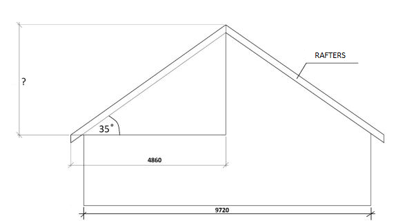 mm and 6034 mm but if we only know the pitch we must take the drawing and based on the width of the building calculate the measurements of the roof - How To Calculate Roof Pitch